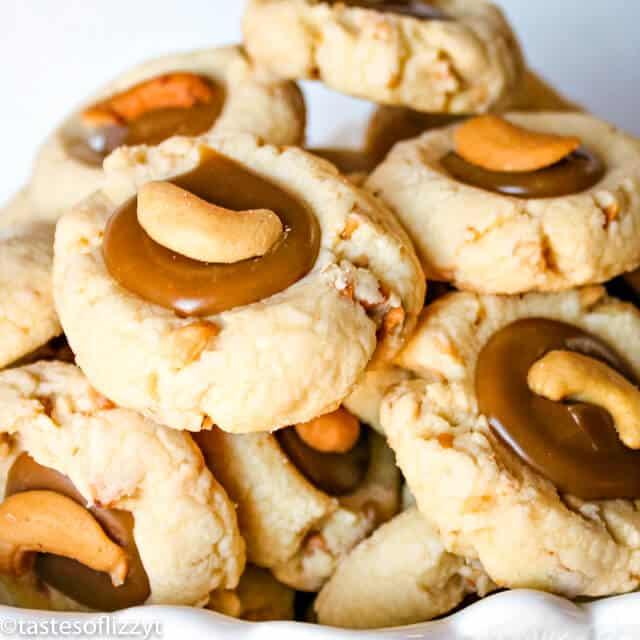 plate of cashew thumbprint cookies