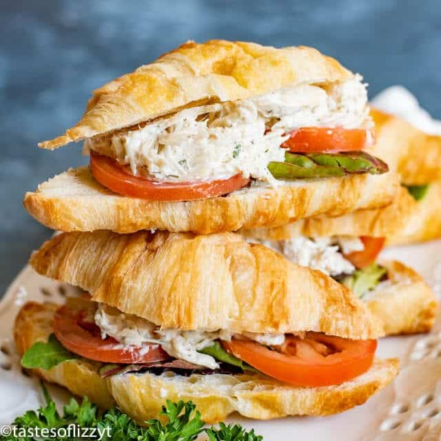 Chicken Salad Recipe on croissant buns square image