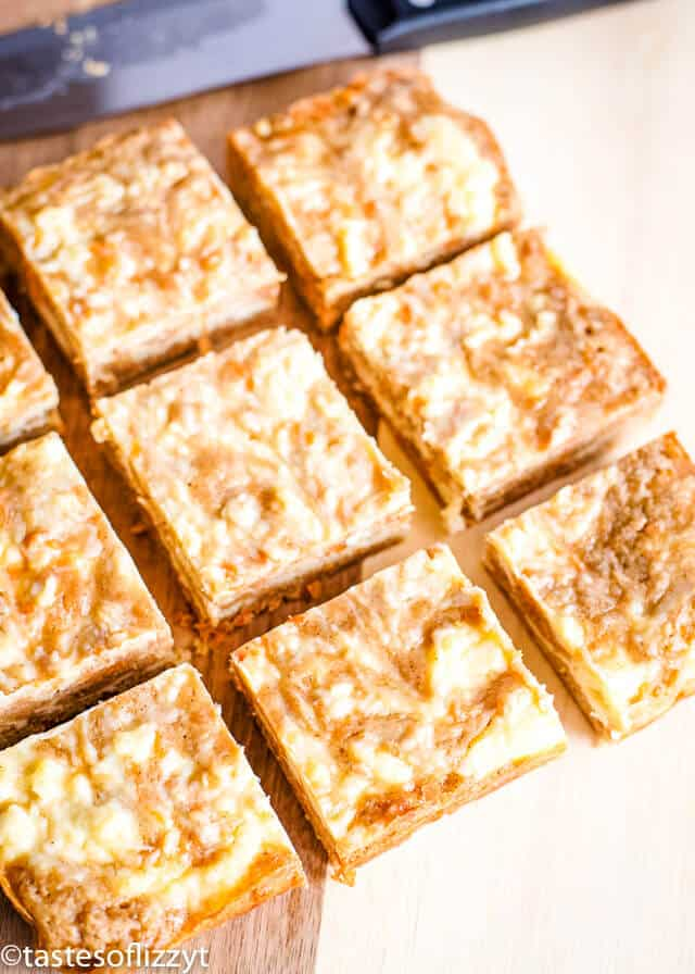 cream cheese swirled carrot cake bars, but into perfect squares