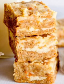 Cream Cheese Carrot Cake Bars stacked
