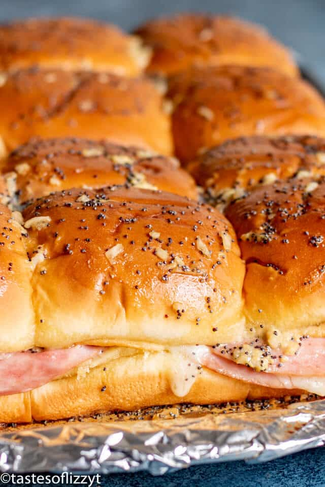 Ham and Cheese Sliders with buttery glaze