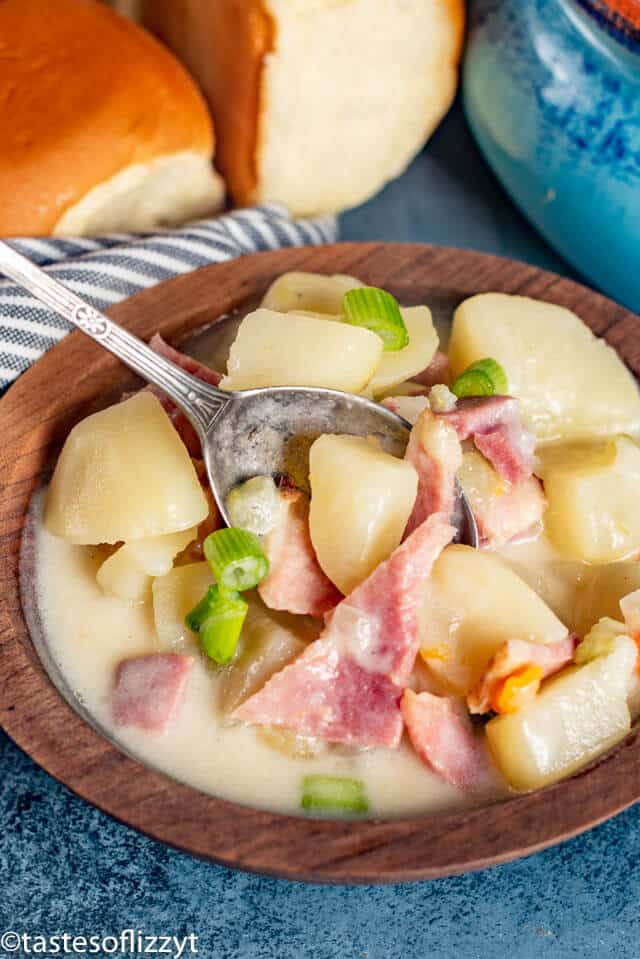Ham and Potato Soup with green onion