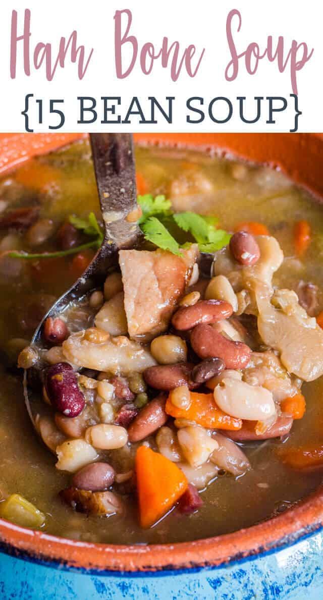 a ladle of ham bone soup
