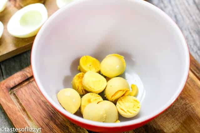 cooked egg yolks in a bowl