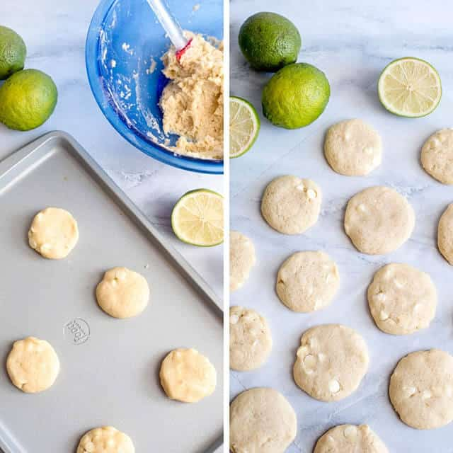 unbaked lime sugar cookie dough on a cookie sheet