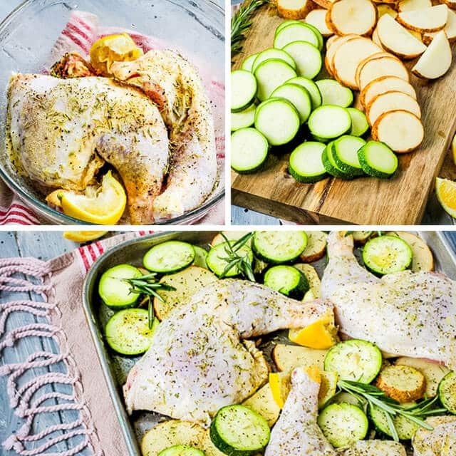 A bunch of food on a table, with lemon chicken and zucchini