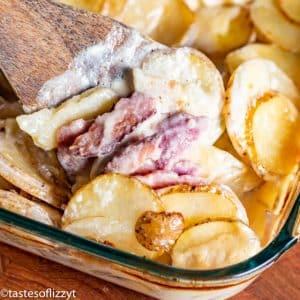 Scalloped Potatoes and Ham Recipe in casserole dish