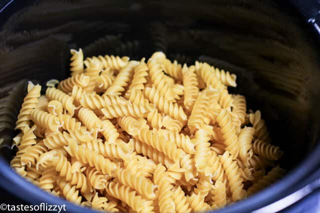 dry pasta in a pan