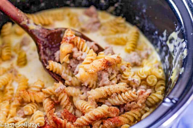 uncooked slow cooker cheesy pasta