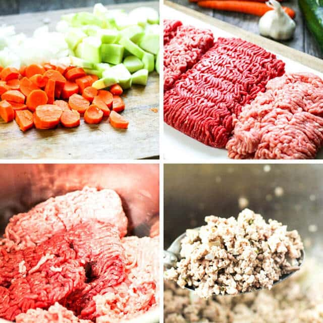 A bunch of different types of food, with Beef and Pork