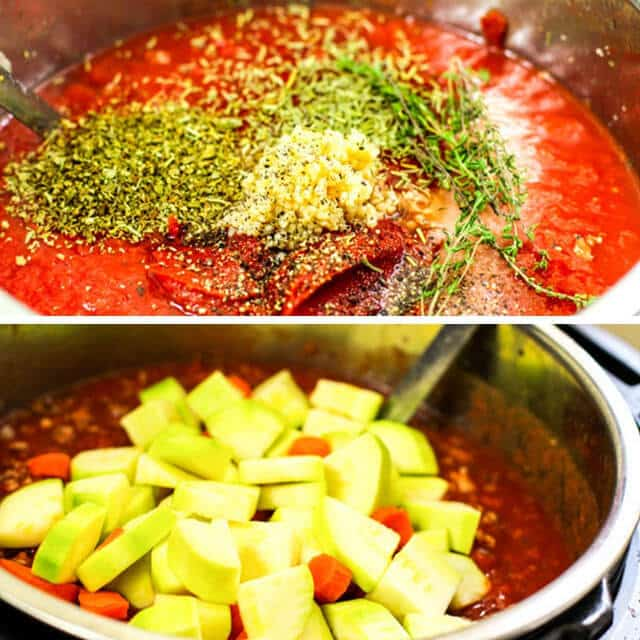 A bowl of food, with Sauce and zucchini