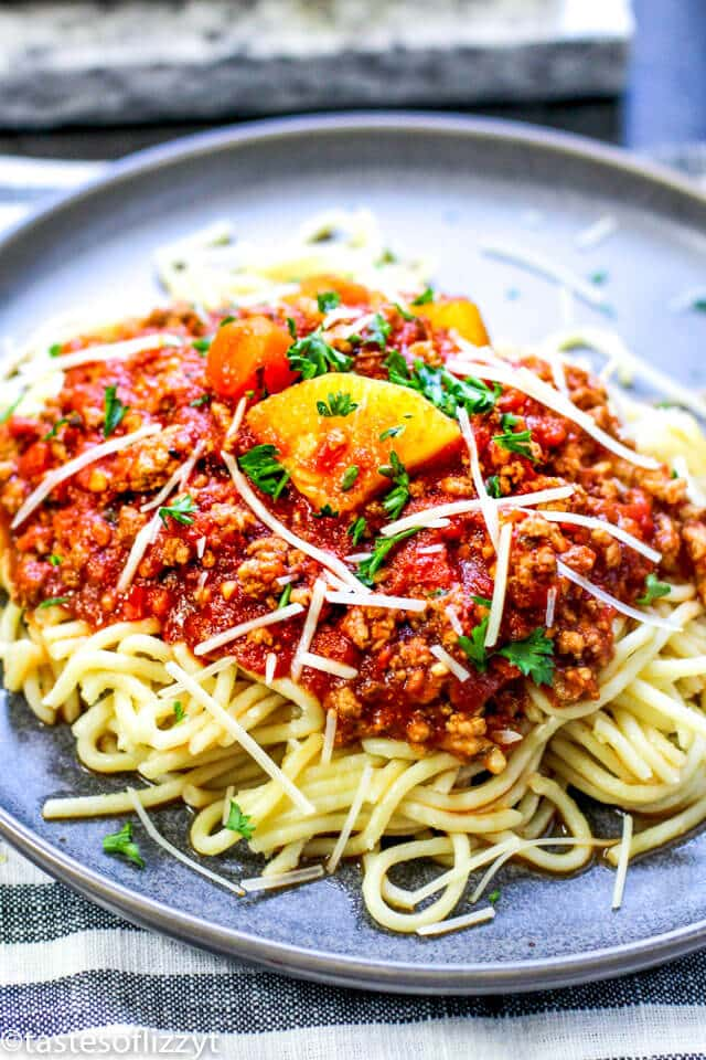 Three Meat Ragu Sauce over spaghetti