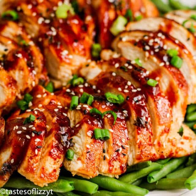 Asian BBQ Chicken on green beans