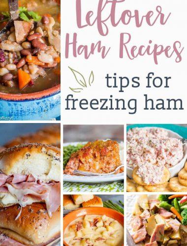 collage picture of leftover ham recipes