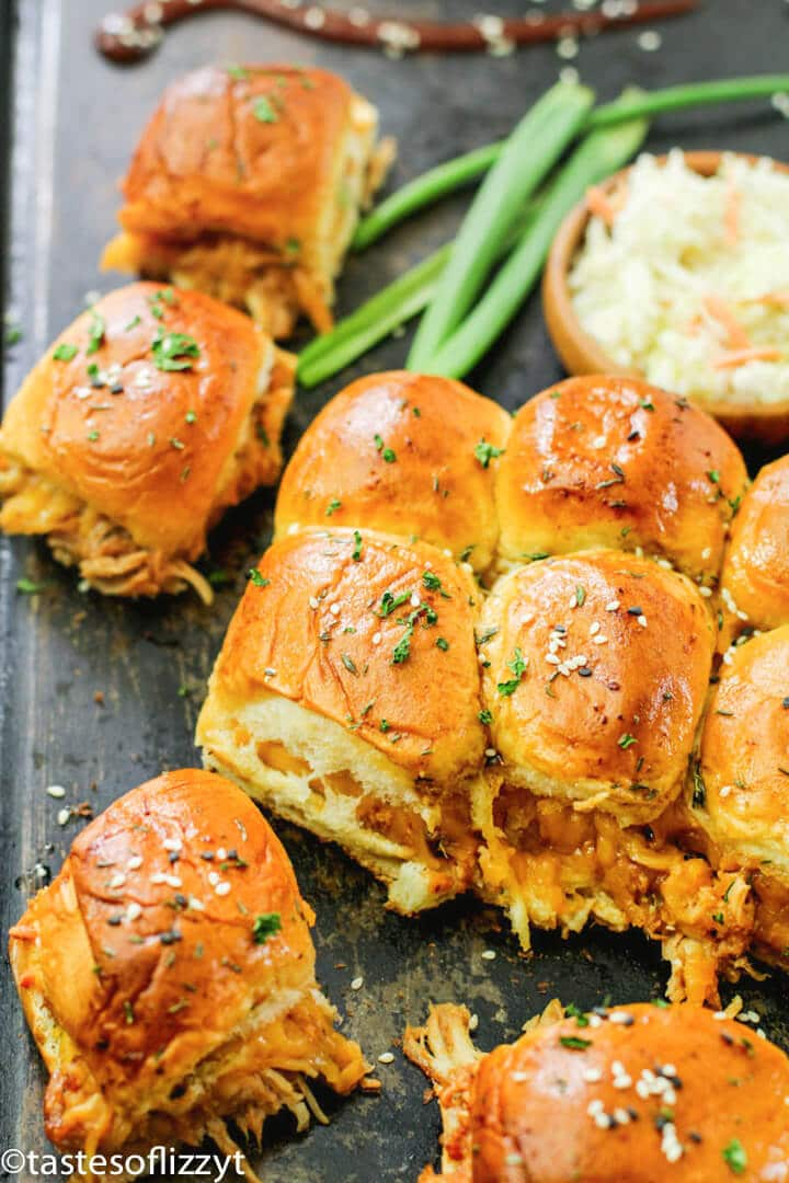 A close up of food, with chicken sliders
