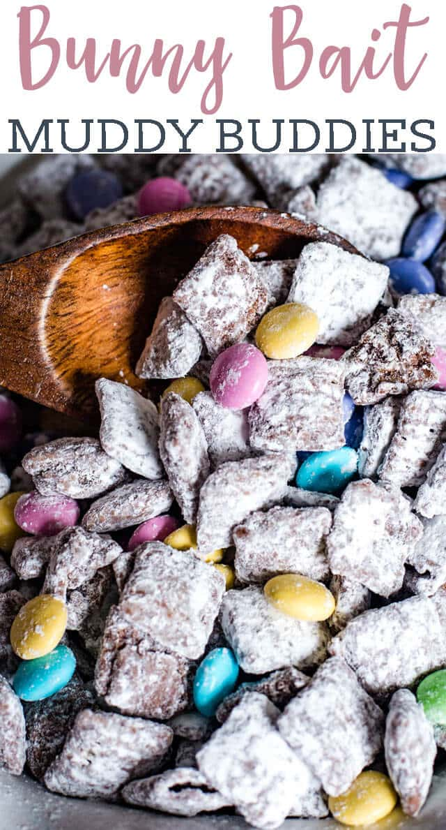 Your kids will love helping make this Easter Bunny Bait! Easter Muddy Buddies chex mix is made festive with spring M&M candies. #puppychow #muddybuddies #easter #bunny via @tastesoflizzyt
