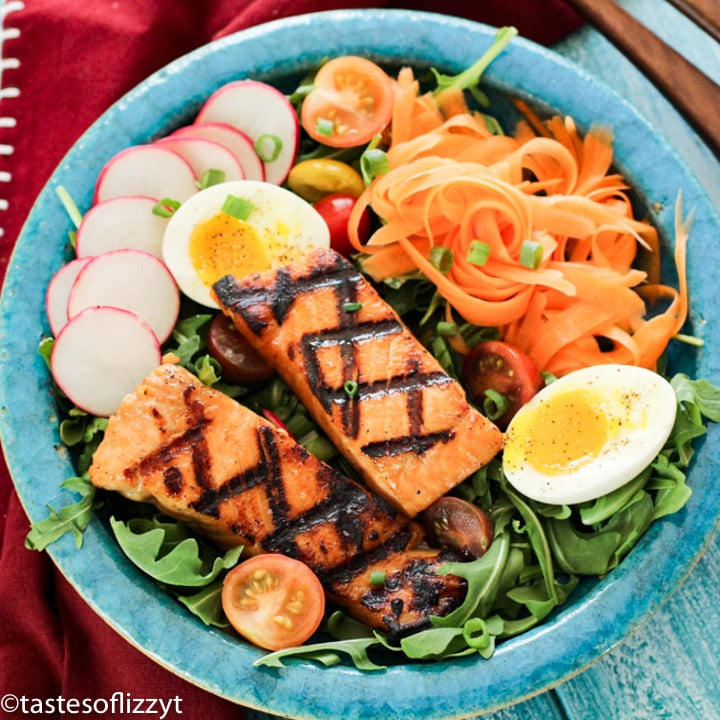 Brown Sugar Salmon with carrots and eggs