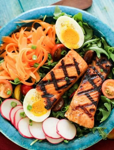 Brown Sugar Salmon overhead salad plate