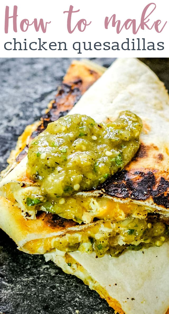 Love quesadillas? Try these Salsa Verde Chicken Quesadillas with homemade salsa verde and shredded chicken. This recipe is versatile and a great alternative to Taco Tuesday. #mexican #tacos #cheese #chicken #salsaverde via @tastesoflizzyt