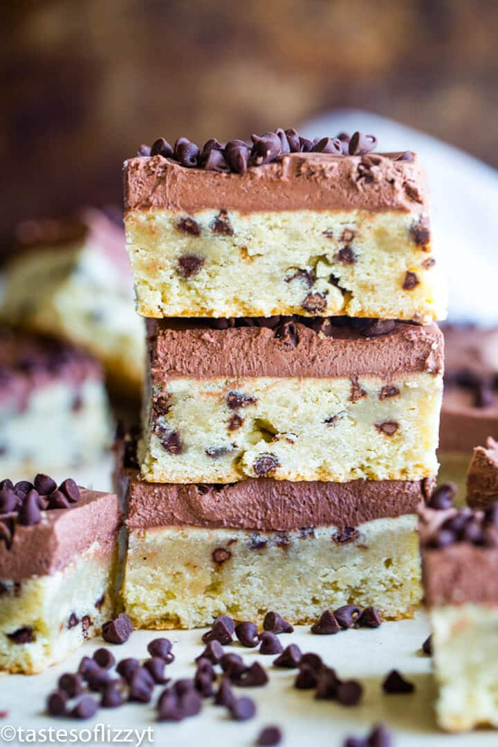 stack of three chocolate chip frosted bars