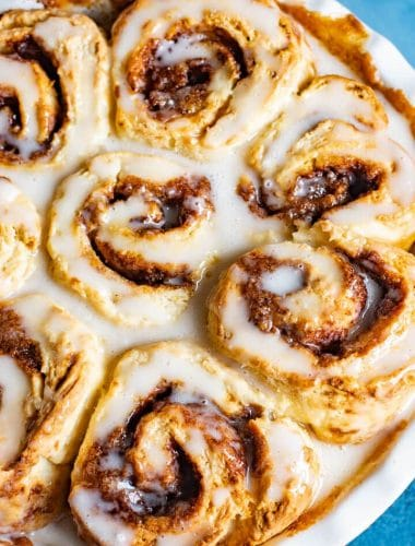 Easy Cinnamon Rolls with powdered sugar glaze