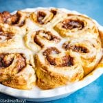round pan of Easy Cinnamon Rolls
