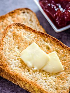 English Muffin Bread with butter and jam