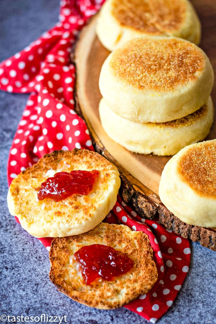 A close up of food, with english muffins and jam
