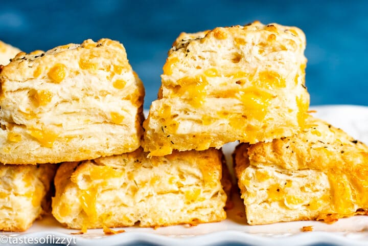 stack of garlic butter cheddar biscuits