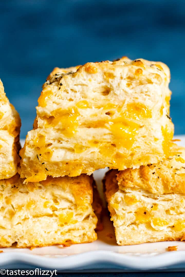 closeup of cheesy biscuit