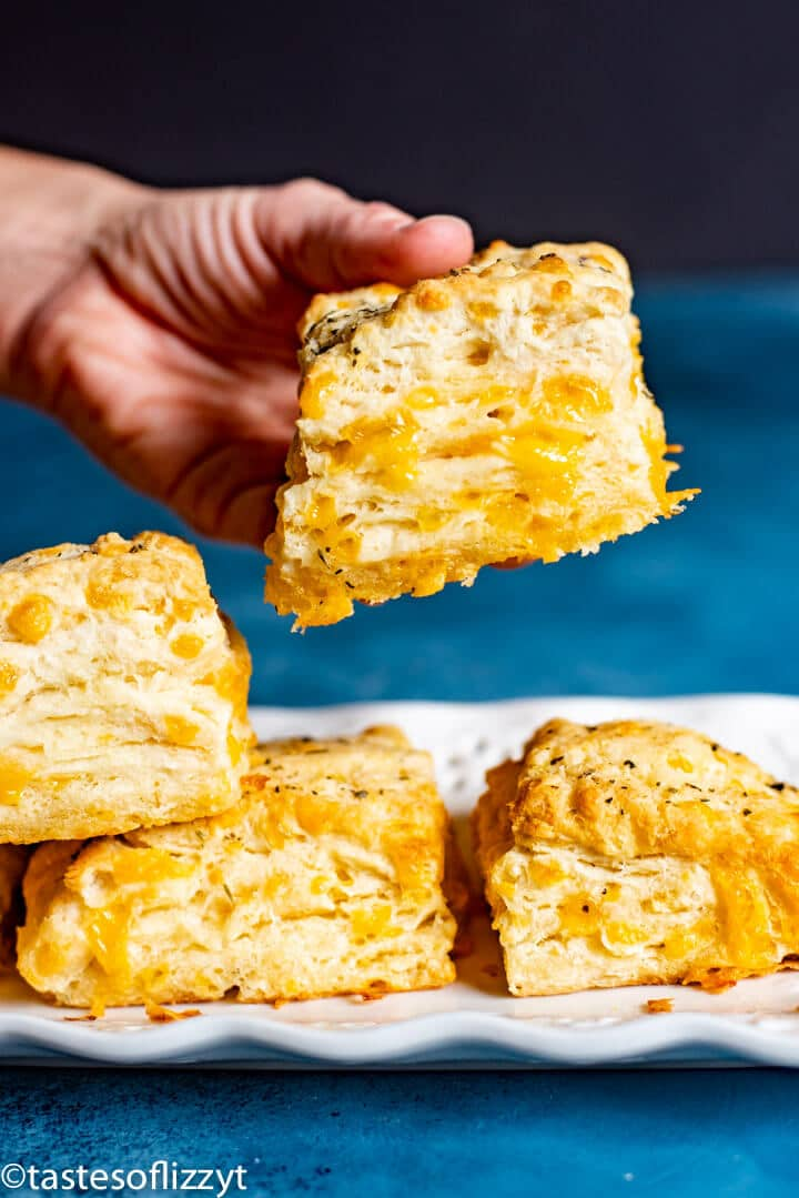 hand holding a cheddar cheese biscuit