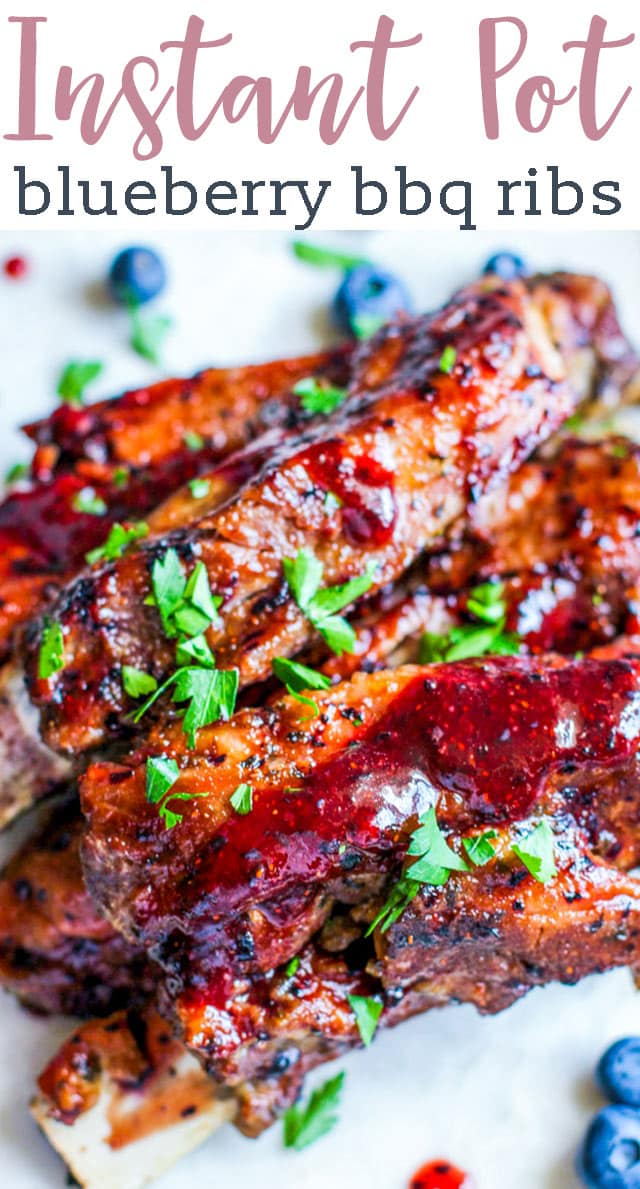 Sweet, savory, and with a splash of fruit, this easy Instant Pot blueberry BBQ ribs is the perfect surprise for Father's Day! #ribs #pork #blueberry #bbq #instantpot via @tastesoflizzyt