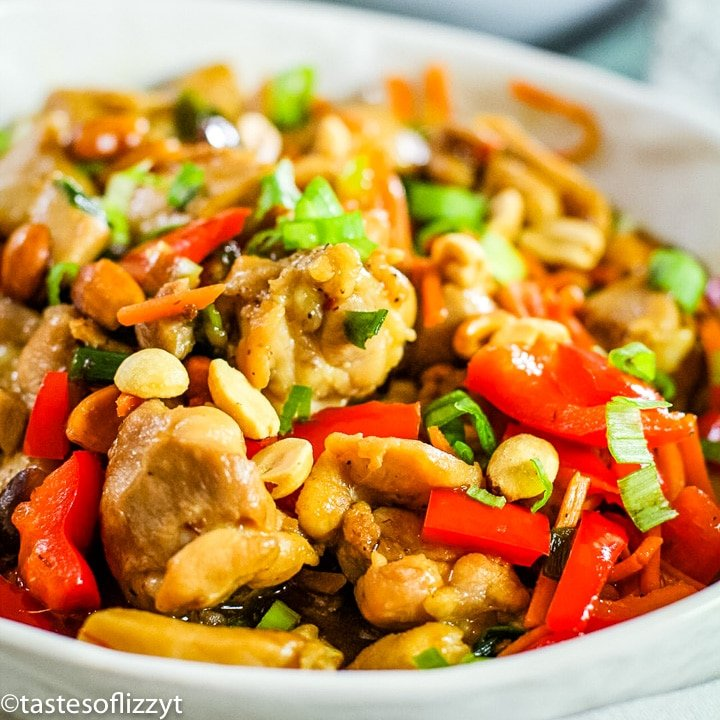 bowl of chicken and vegetables in a skillet