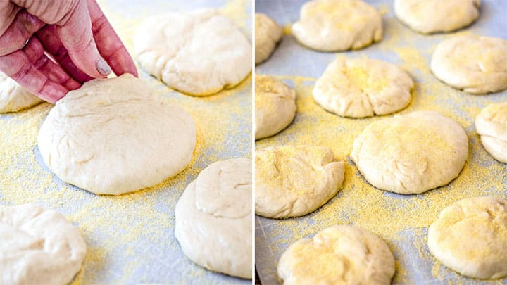 coating english muffins in cornmeal