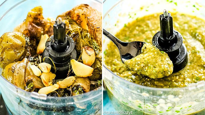 tomatillos and garlic in a food processor