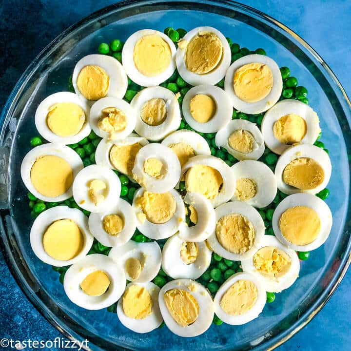 hard boiled eggs layered in a big bowl