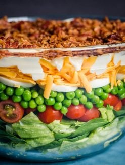 seven layer salad in a bowl