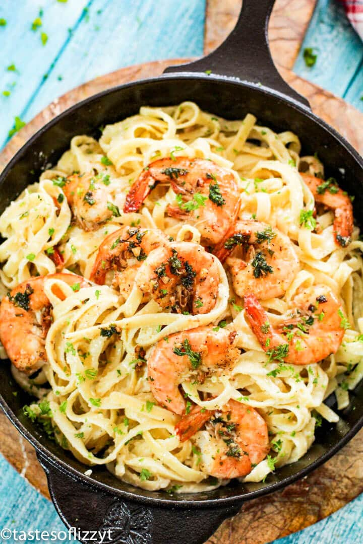 skillet with pasta and shrimp