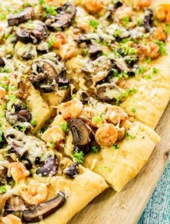 Shrimp Mushroom Flatbread Pizza with storebought dough