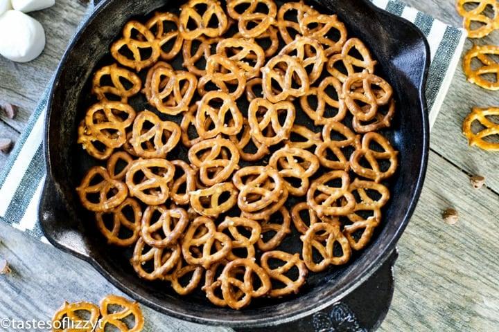 pretzels in the bottom of a skillet
