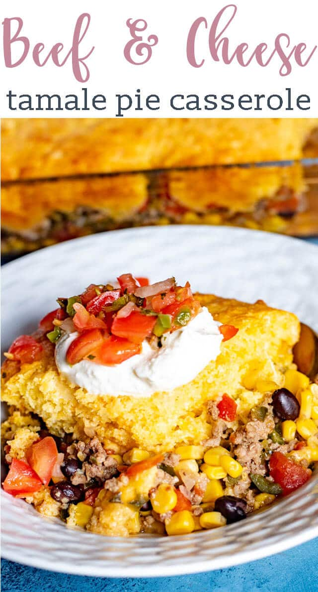 Your family will fall in love with this simple dinner recipe! Easy beef tamale pie is a Mexican-inspired casserole recipe with ground beef, beans, and veggies with a cheesy cornbread baked on top. #casserole #tamale #cornbread #beef via @tastesoflizzyt