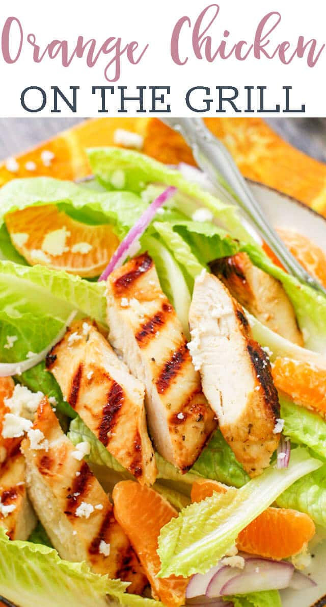 This healthy & easy marinated chicken recipe is delicious on a salad. Light and fresh, Grilled Orange Chicken with a sweet & tangy flavor is a quick 30-minute meal. #grilling #summer #chicken #salad #orangechicken via @tastesoflizzyt