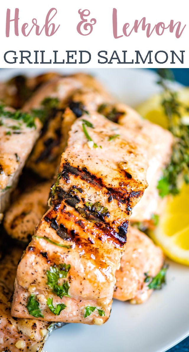 If you're looking for healthy, high protein dinner, try this easy Grilled Lemon Salmon. Fresh herbs, lemon and garlic give this salmon an amazing flavor. #salmon #seafood #dinner #grilling #summer  via @tastesoflizzyt
