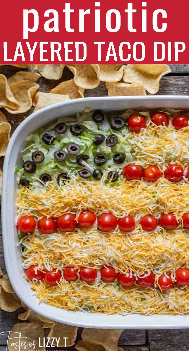 Bring this Patriotic Easy Layered Taco Dip to your next summer picnic! It's a quick and easy side dish that you don't have to bake. Serve with tortilla chips. via @tastesoflizzyt