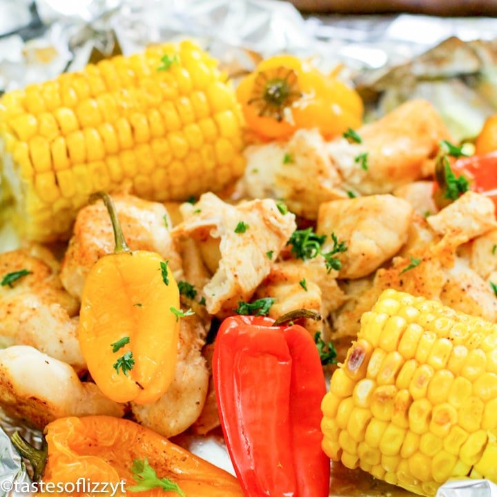 Corn and Chicken Foil Packets with peppers