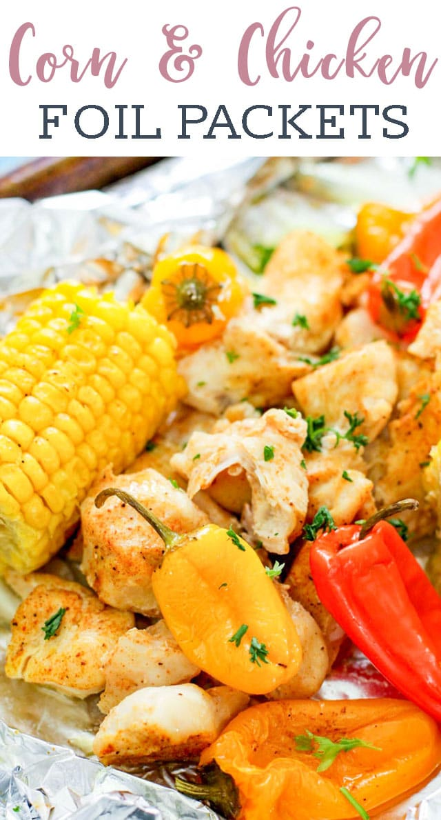 Looking for the perfect summer foil packet recipe? Whether it's to cook on the grill or in the oven, these corn and chicken foil packets are easily made with minimal clean up and maximum flavor! #foilpackets #camping #campfire #corn #summer  via @tastesoflizzyt