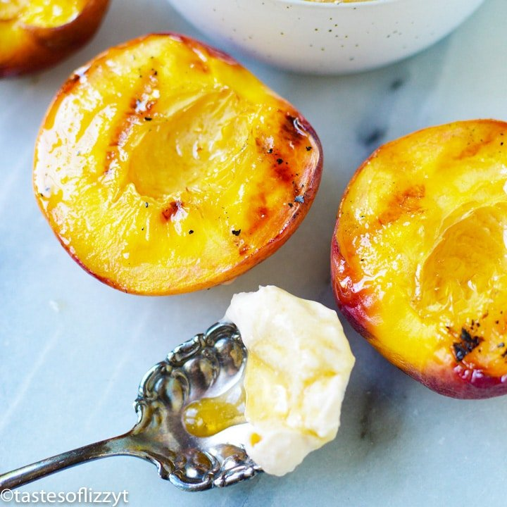 Maple Grilled Peaches with a spoon