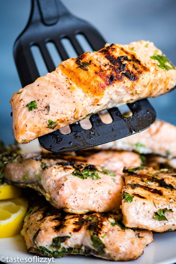 piece of salmon on a spatula