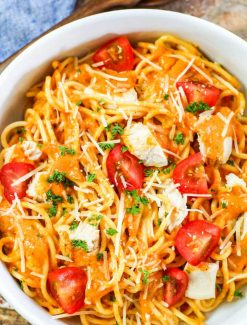 Roasted Pepper Pasta Sauce with shredded cheese and tomatoes