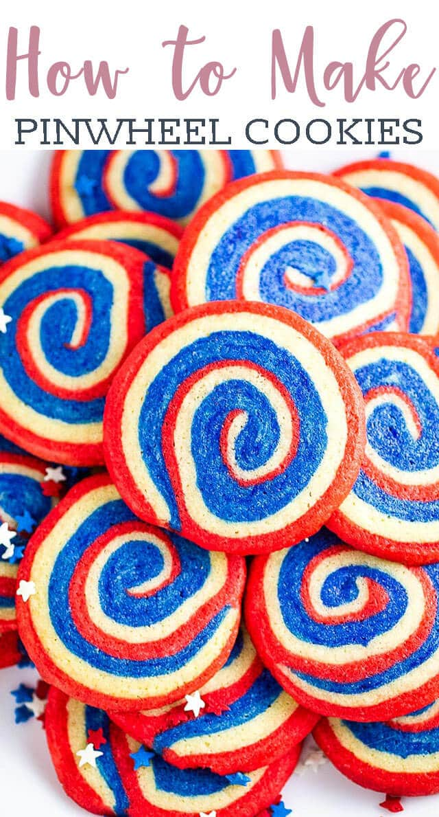 Classic, slice and bake soft sugar cookies get dressed up as a July 4 cookie! Patriotic pinwheel cookies have sweet swirls of red white and blue. #cookies #pinwheels #comfortfood #july4 #patriotic via @tastesoflizzyt